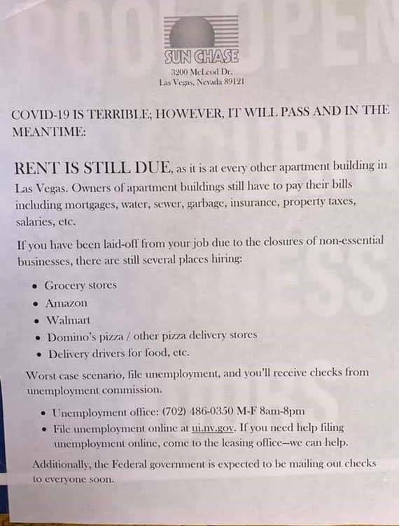 A notice from Sun Chase Apartments
