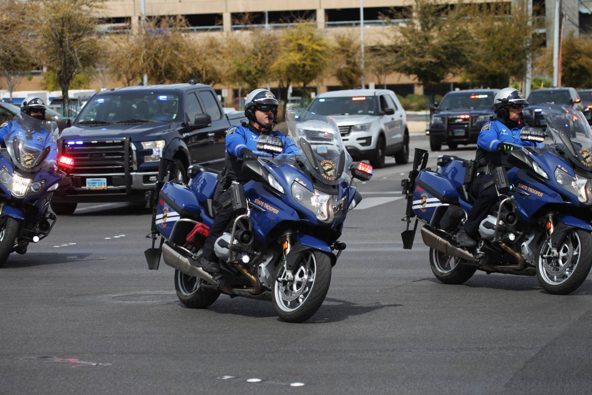 The procession for Nevada Highway Patrol Sgt. Benjamin Jenkins, 47, who was shot and killed whi ...
