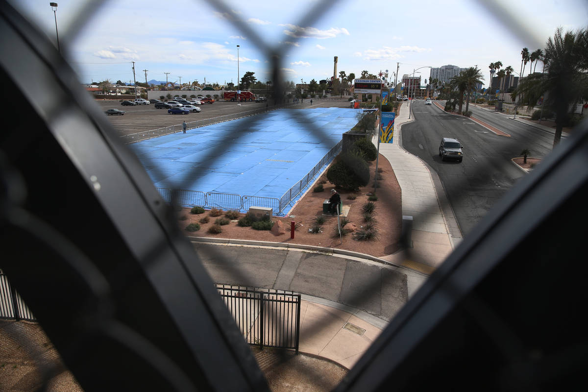 A temporary homeless shelter at the Cashman Field parking lot in Las Vegas, Saturday, March 28, ...