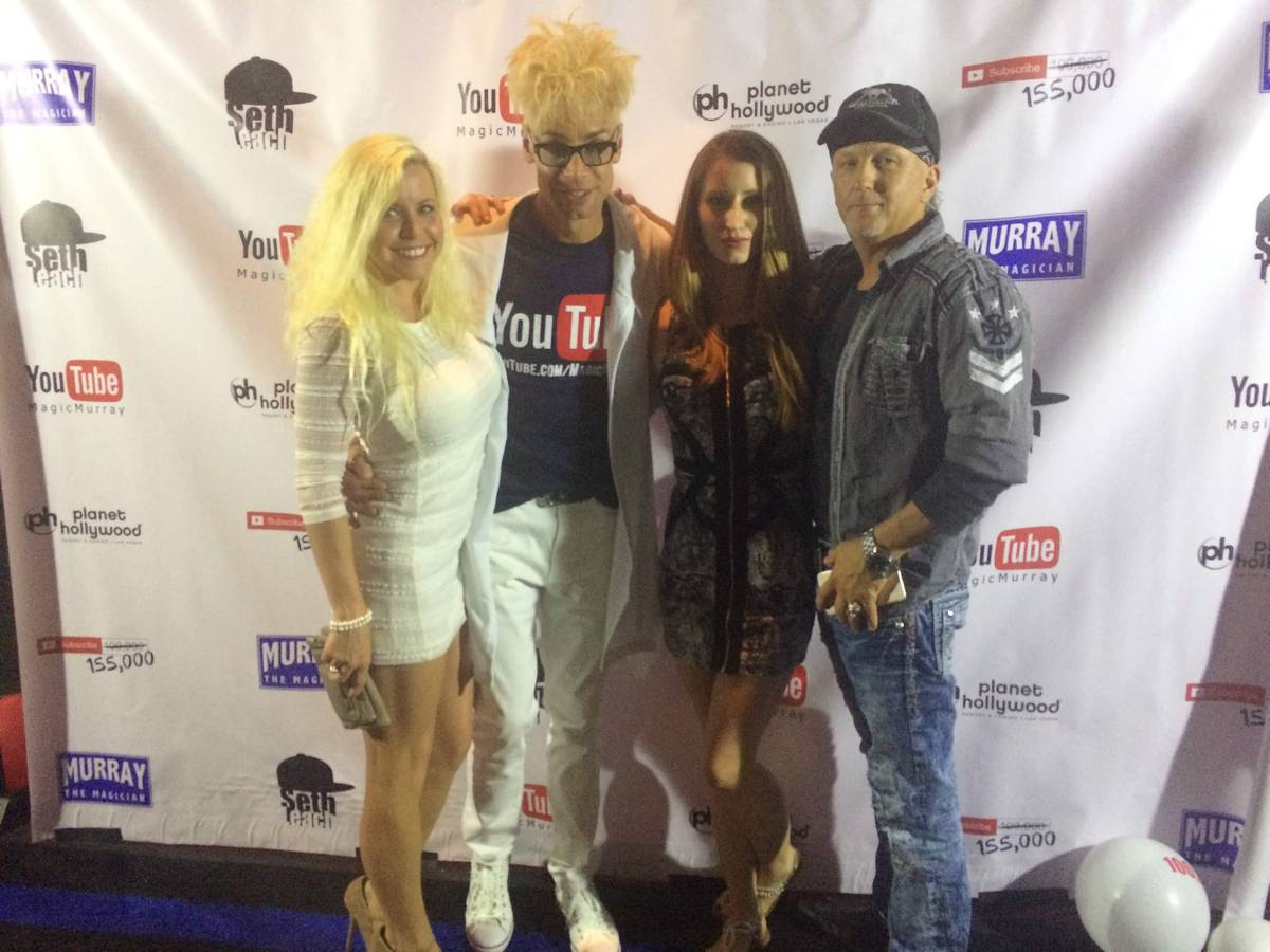 Joe Lowe, far right, is shown with Murray Sawchuck, Las Vegas massage therapist Misty Sins and ...