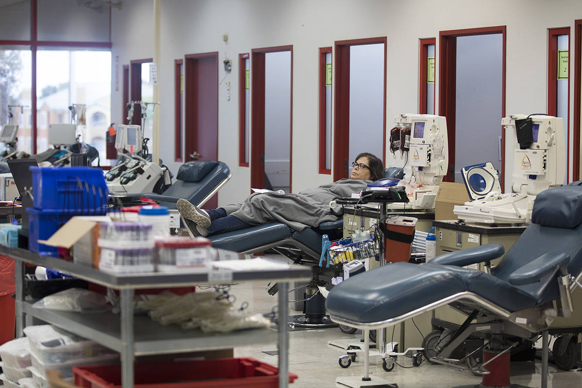 Kelly Groenlykke waits to give blood at Vitalant, a nonprofit that collects blood from voluntee ...
