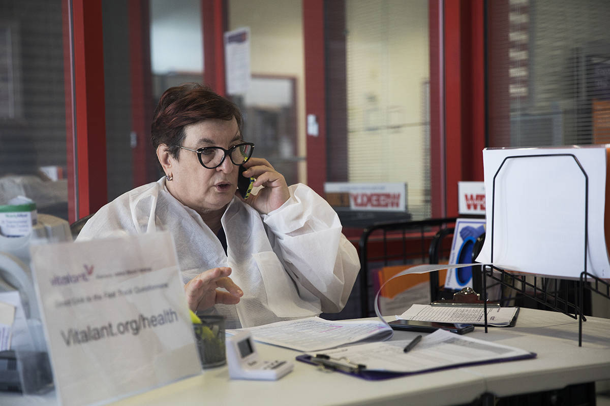 Joan Young, a donor relations specialist, speaks on the phone with a donor at Vitalant, a nonpr ...