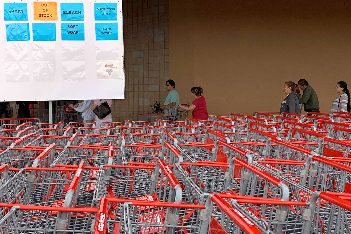 The sign showing out-of-stock items is seen in front of Costco at 791 Marks St, in Henderson, S ...