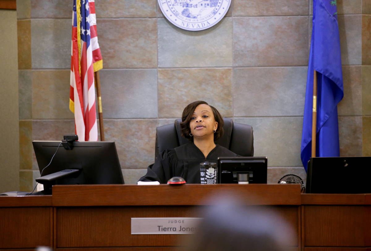 Tierra Jones presides in court at the Regional Justice Center in Las Vegas Monday, March 30, 20 ...