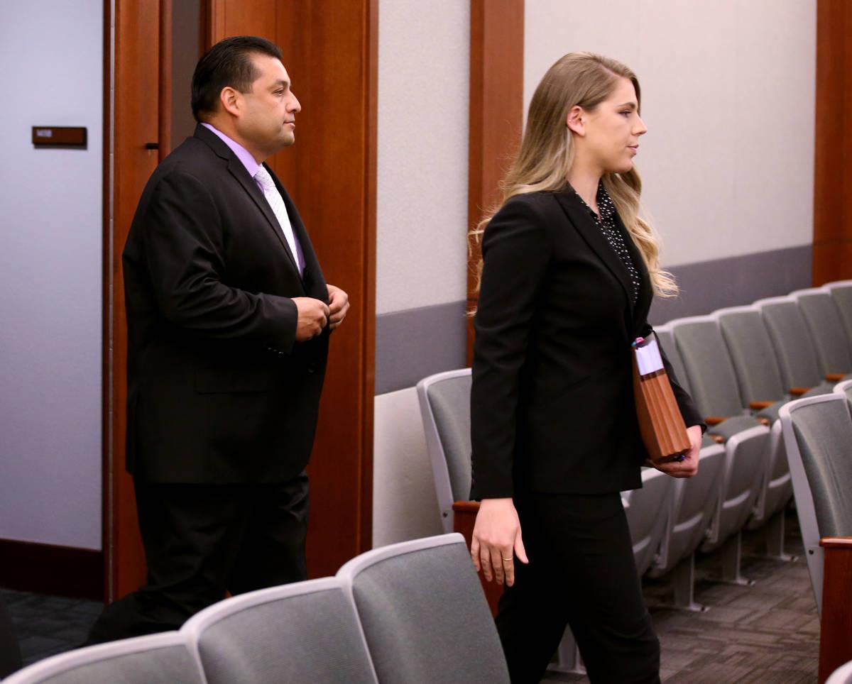 Michael Ramirez, a high-ranking director of the Las Vegas Police Protective Association, arrive ...