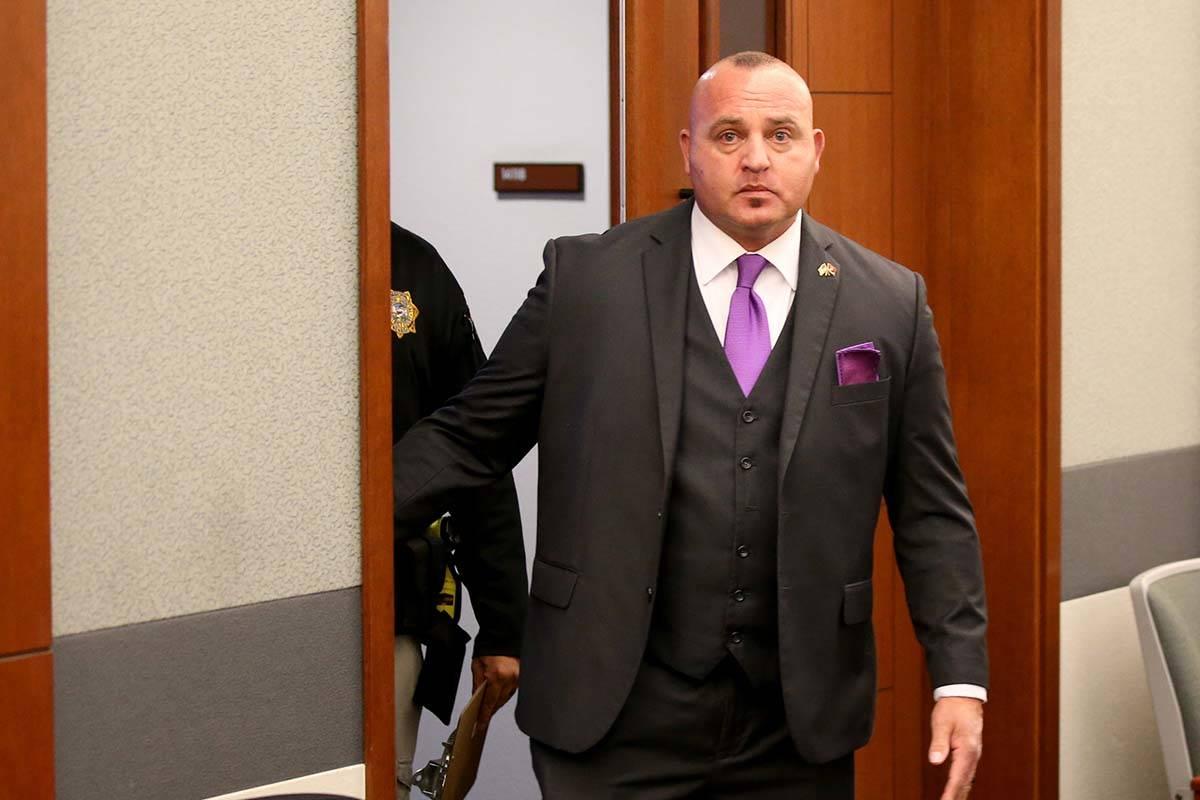 Las Vegas police Detective Lawrence Rinetti Jr. arrives at the Regional Justice Center in Las V ...