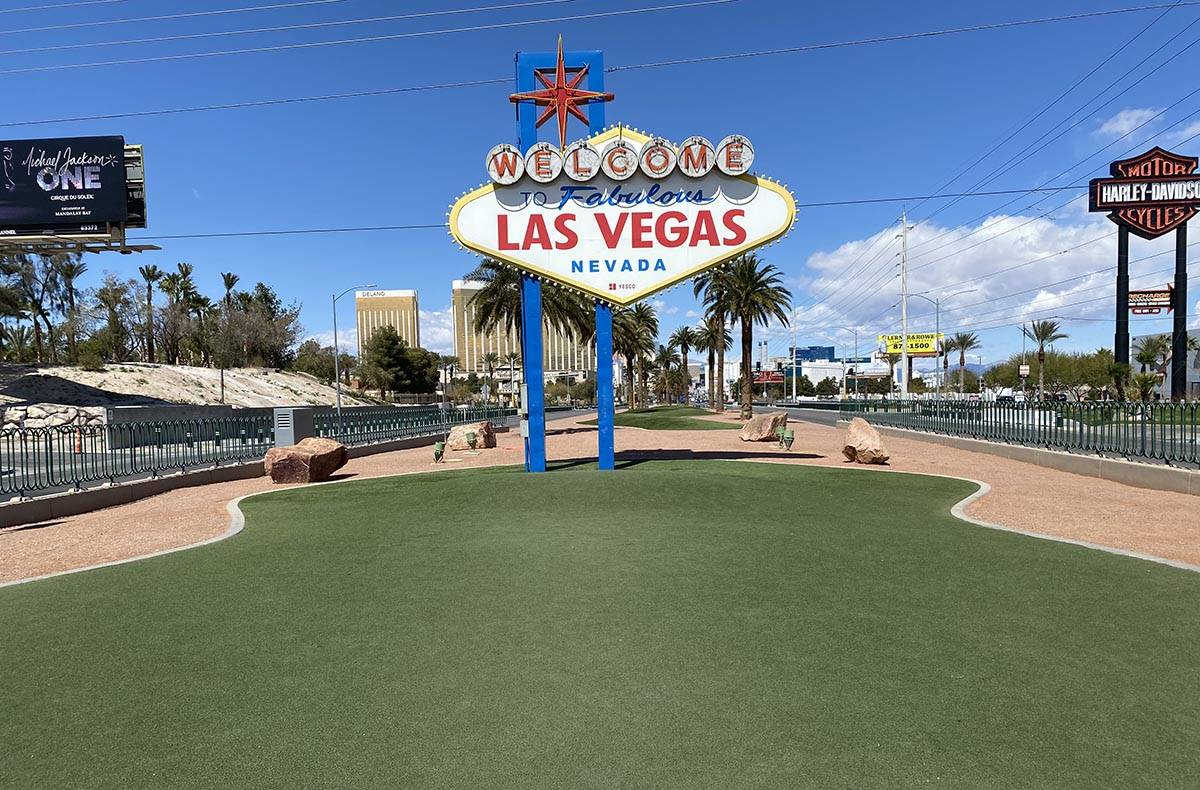 The famous Welcome to Fabulous Las Vegas sign is shown on Friday, March 27, 2020. (John Katsilo ...
