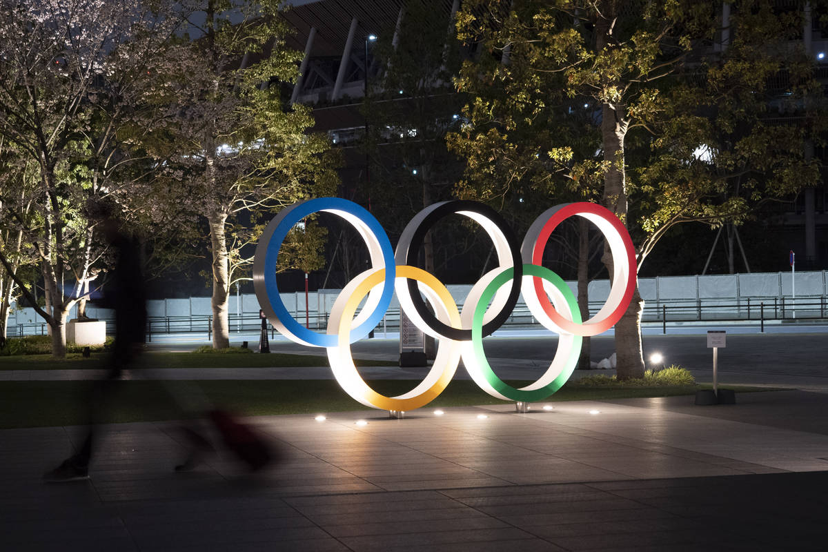 The Olympic rings are seen Monday, March 30, 2020, in Tokyo. The Tokyo Olympics will open next ...