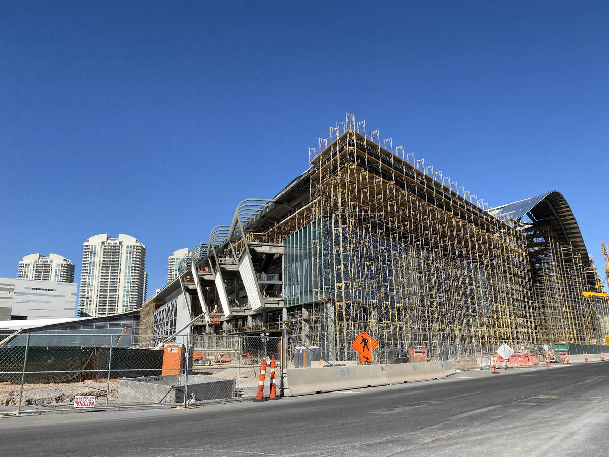 Work continues Monday, March 30, 2020, on the Las Vegas Convention Center in Las Vegas. (Mick A ...