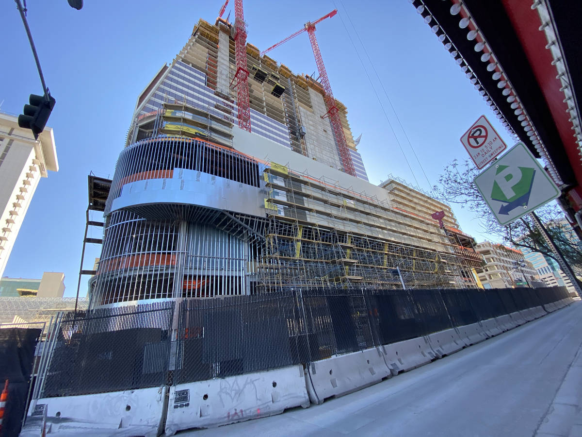 Work continues Monday, March 30, 2020, at the construction site of the Circa hotel-casino in do ...