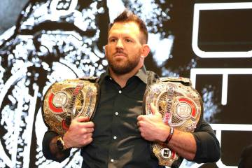 Ryan Bader is seen at a news conference promoting the Bellator Spring & Summer fight cards ...