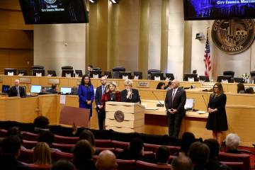 People seeking to attend the Las Vegas City Council meeting in person Wednesday, April 1, 2020, ...