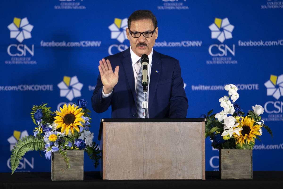 College of Southern Nevada President Dr. Federico Zaragoza begins the official dedication of th ...