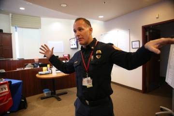 Deputy Fire Chief Travis Anderson, serving as emergency manager, is interviewed about the City ...