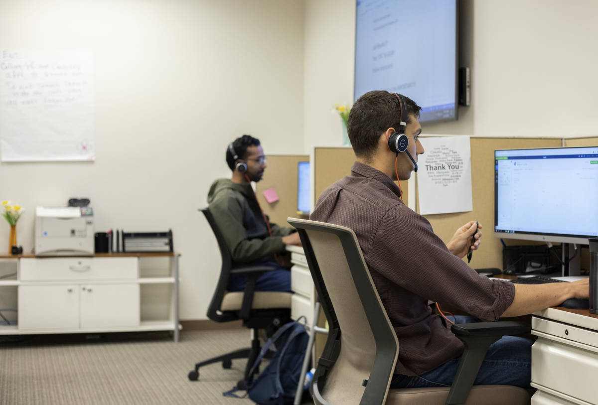 Third-year medical student William Gravely volunteers at a COVID-19 call center at a UNLV Medic ...