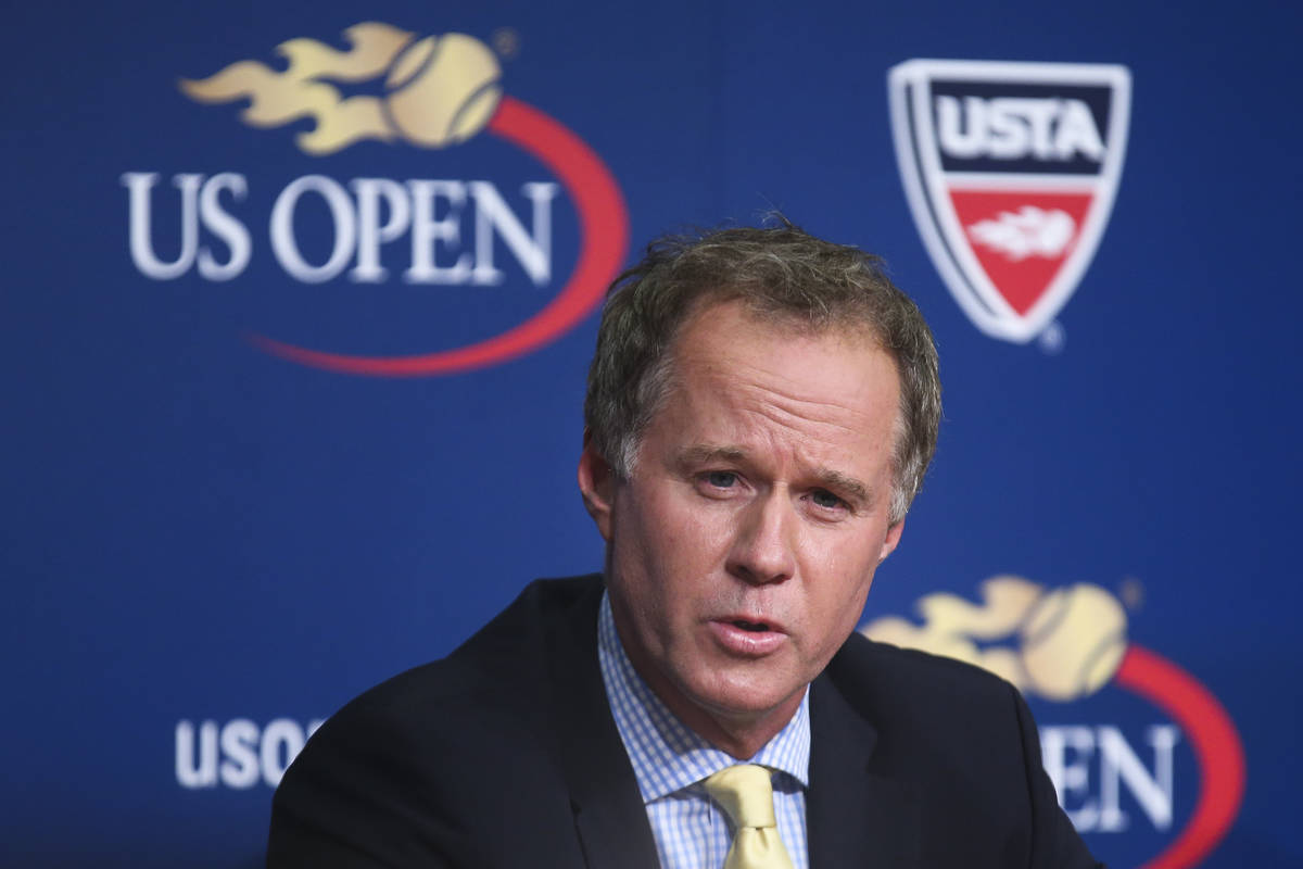 FILE - In this Sept. 3, 2014, file photo, Patrick McEnroe speaks during a news conference at th ...