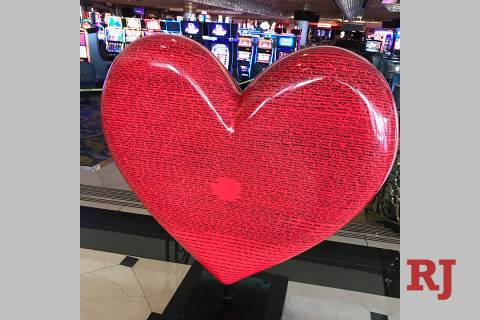 The heart at the entrance of Westgate Las Vegas, with 2,200 employees' hand-written names, is s ...