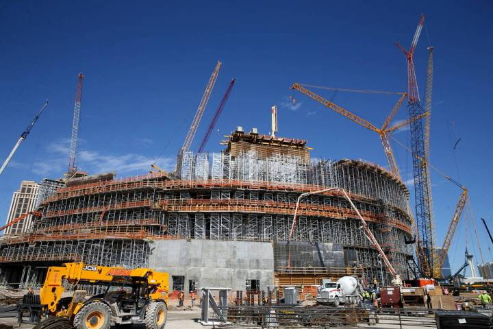 Construction continues at the MSG Sphere at The Venetian in Las Vegas Thursday, March 12, 2020. ...