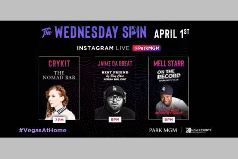 "A promotional image of Park MGM's ""The Wednesday Spin"" virtual DJ party. (Park MGM)"