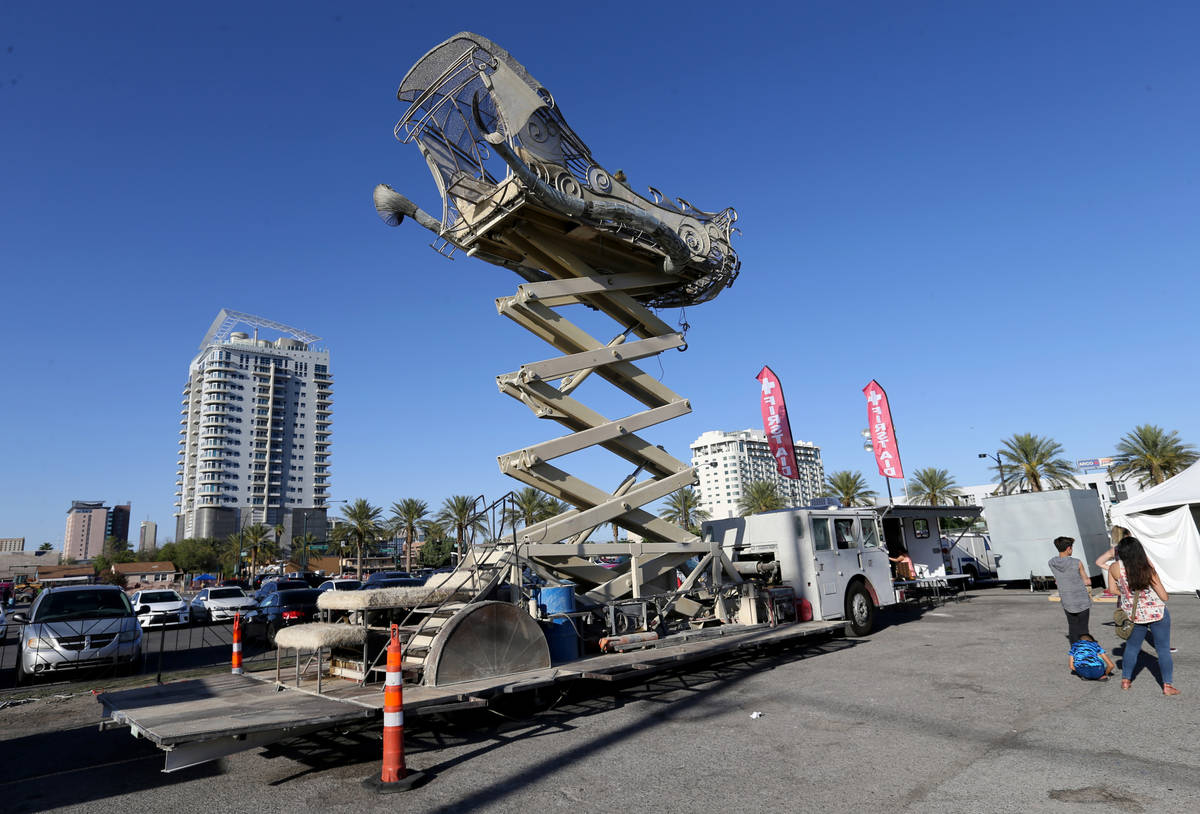 BalanceVille art car rises into the air at First Friday in the Arts District of downtown Las Ve ...