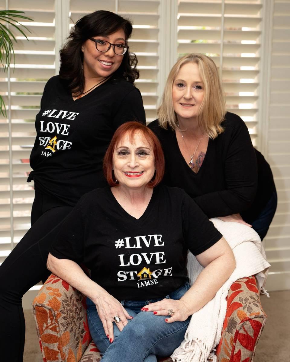 Designer Gayle Novak, center, and her assistant, from left, Raquel Lopez and Wendy Ellebrecht s ...