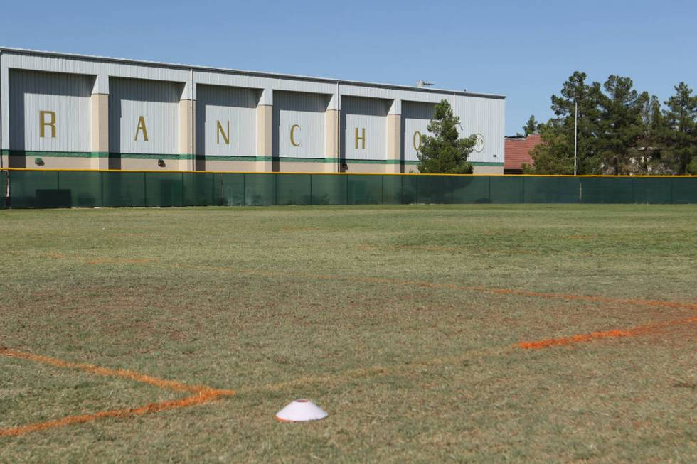 A look at the Rancho High School baseball field where lines were painted in the outfield so the ...