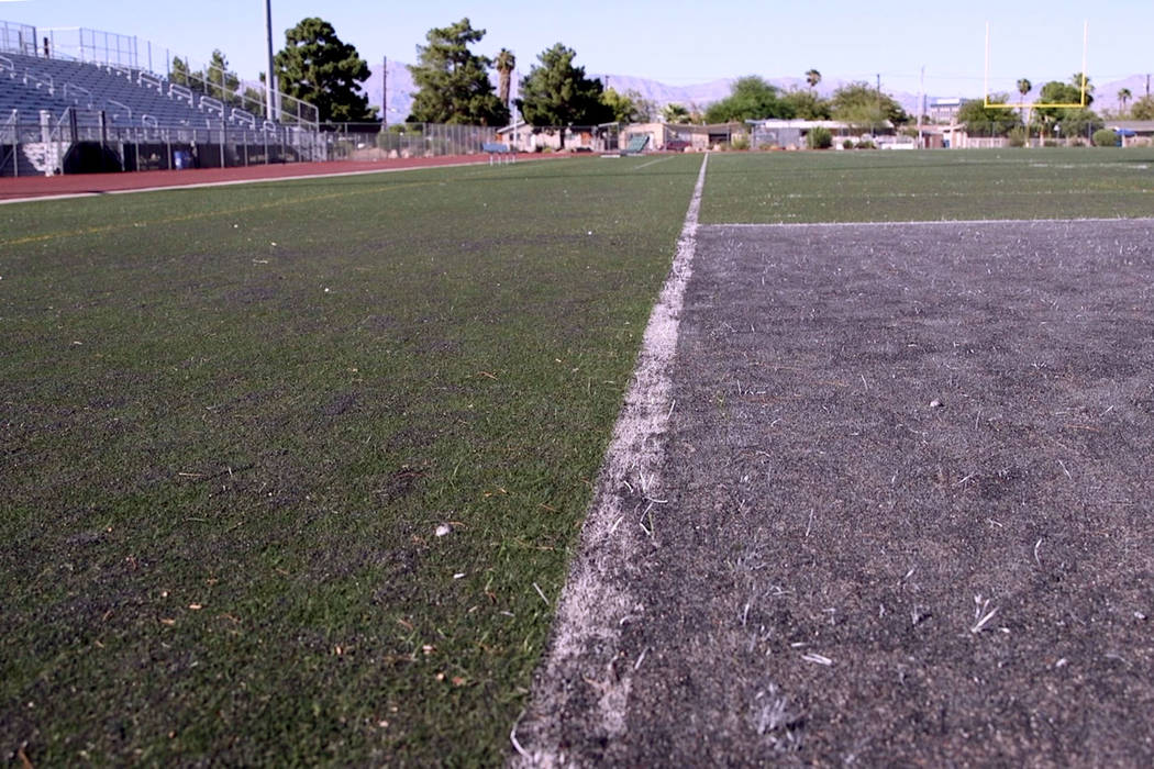 The Rancho High School football field, which was deemed unfit to play on during the summer of 2 ...