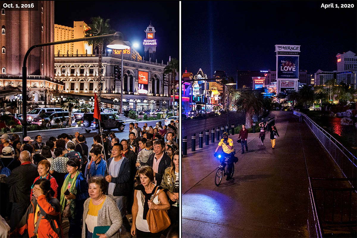 A crowd wanders along the Las Vegas Strip on Oct. 11, 2016. On April 1, just a few people move ...