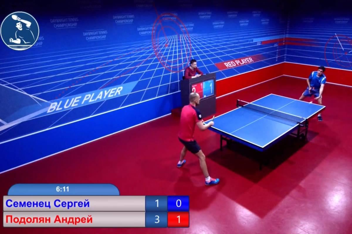 Serhii Semenets (in blue) battles Andrii Podolian in a Setka Cup match in Ukraine late Tuesday ...
