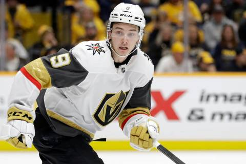 Vegas Golden Knights center Cody Glass plays against the Nashville Predators in an NHL hockey g ...