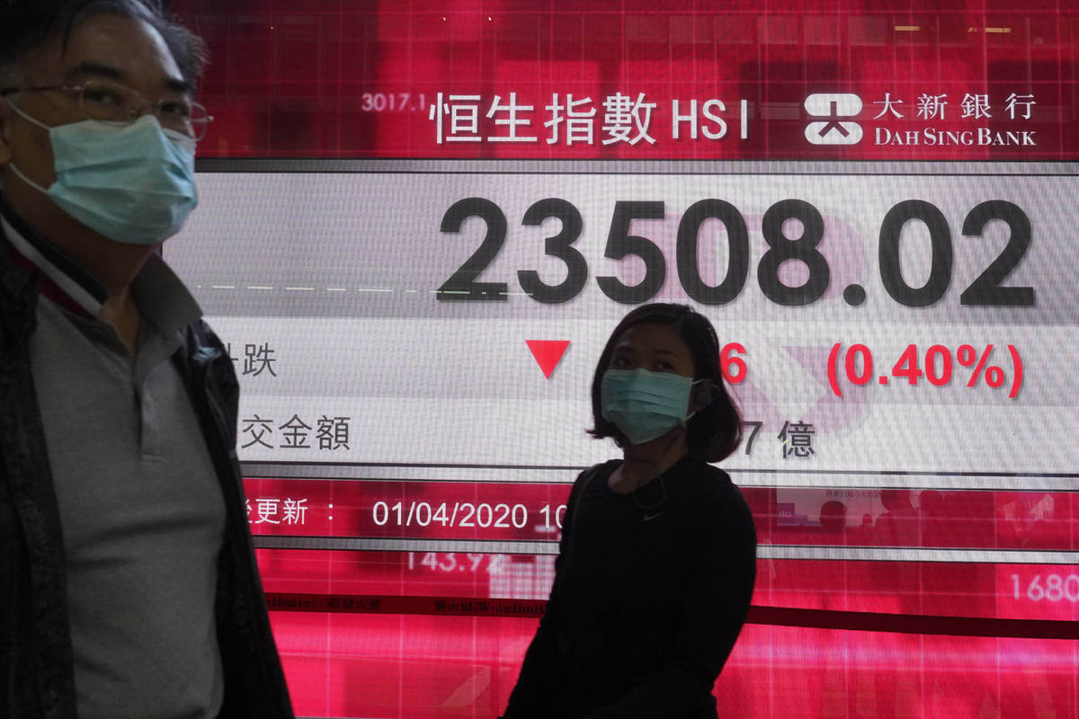 People wearing face masks walk past a bank's electronic board showing the Hong Kong share index ...