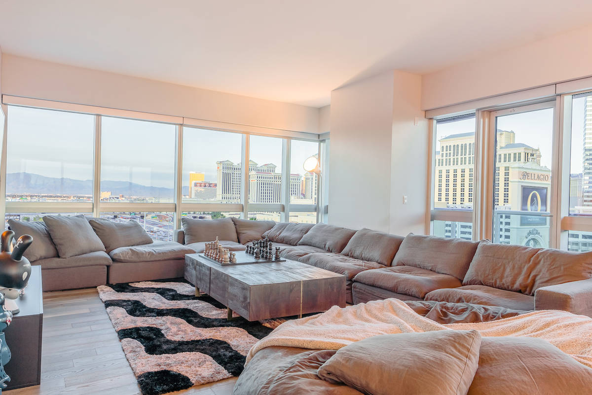 The Martin condo has a eye-level view of the Raiders Allegiant Stadium. (Red Luxury Real Estate)