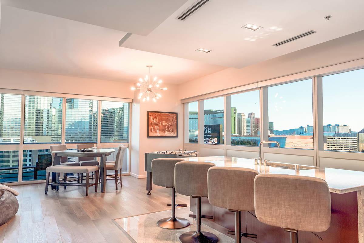 The kitchen has a view of the distinctive stadium vistas through large south-facing windows. (R ...