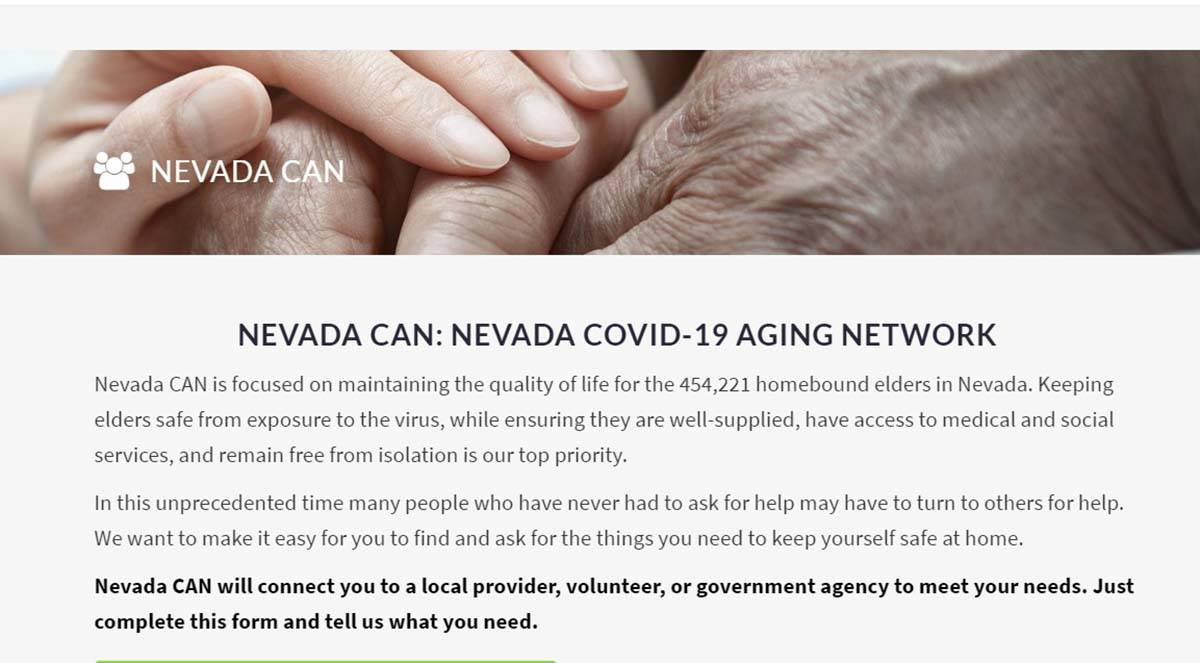 "The Nevada CAN website, for Nevada COVID-19 Aging Network, is ""focused on maintaining the qua ..."