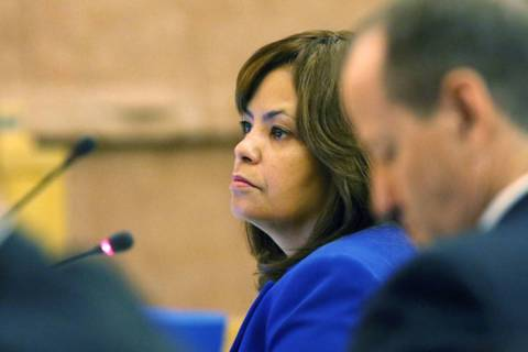 Yolanda King attends a meeting of the Clark County Board of Commissioners at Clark County Gover ...
