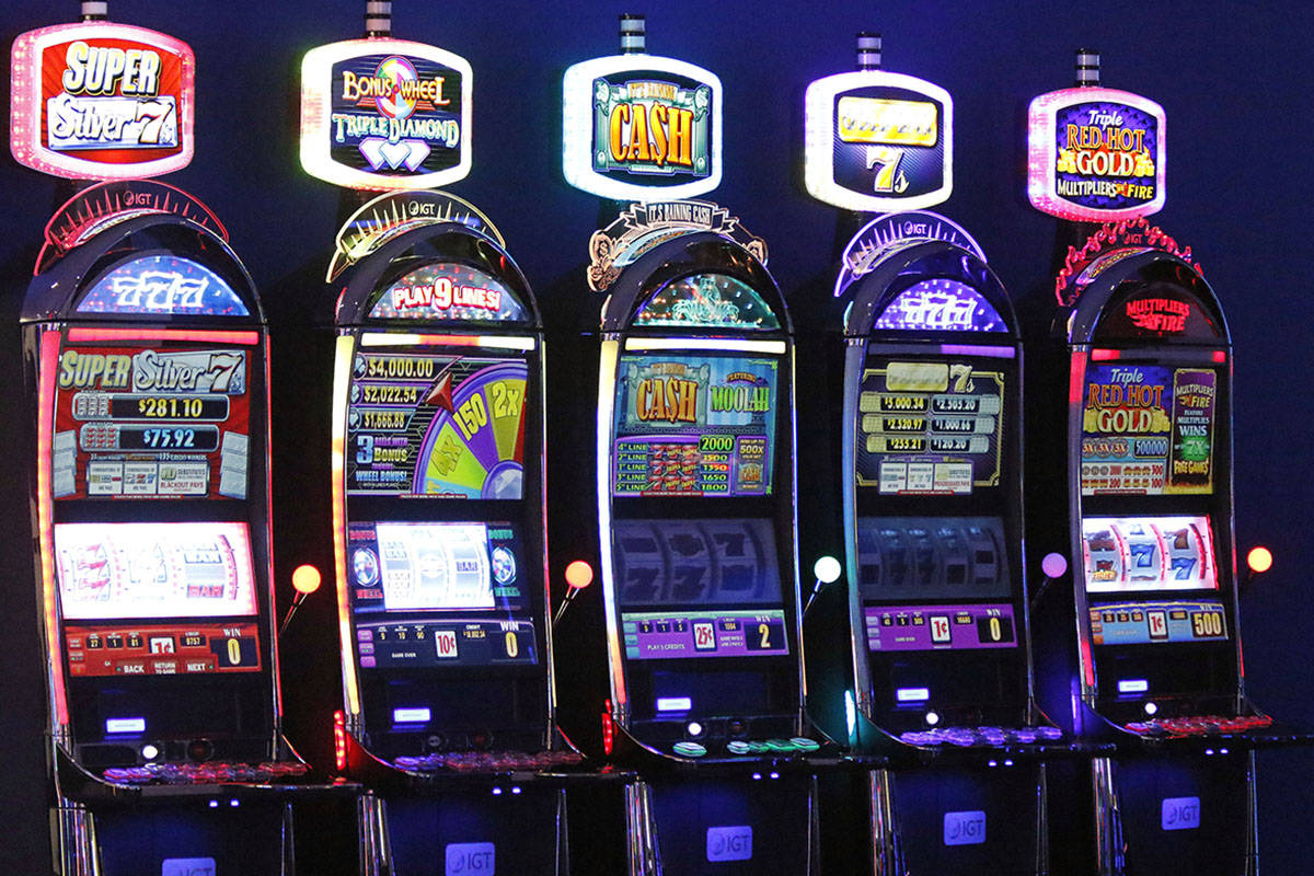 Slot machines on display in IGT's showroom at their Las Vegas headquarters, Friday, June 2, 201 ...