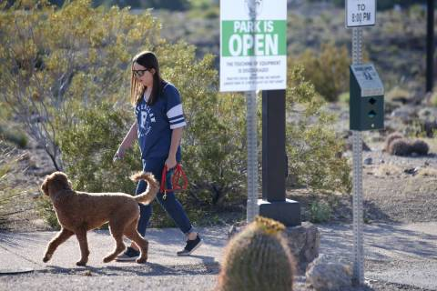 A woman walks her dog at Hualapai Canyon hiking area in Las Vegas Wednesday, April 1, 2020. (K. ...