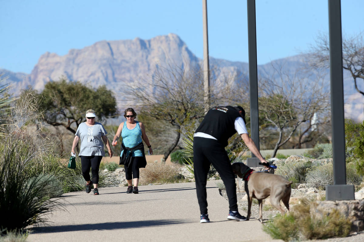 Joe Tucker of Las Vegas moves his dog Ryder to allow others to pass while exercising at Hualapa ...