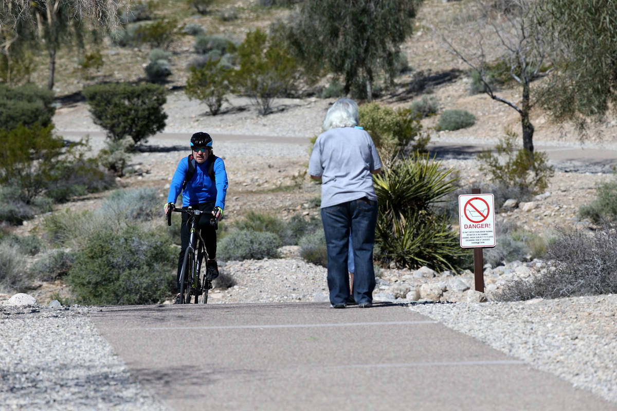 People exercise at Pueblo Park in Las Vegas Wednesday, April 1, 2020. (K.M. Cannon/Las Vegas Re ...