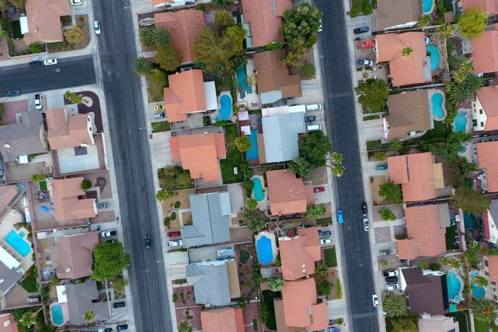 Aerial view of homes near Valle Verde Drive and Warm Springs Road in Henderson on Monday, June ...