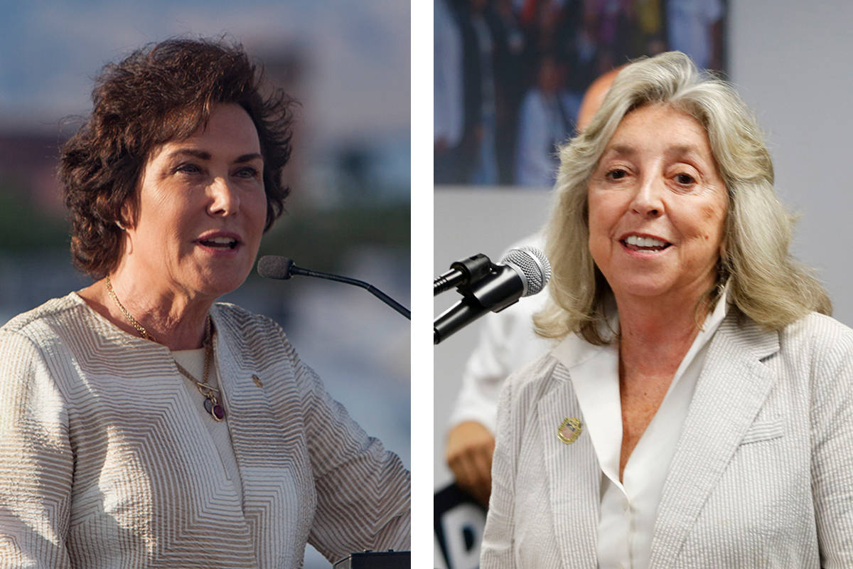 U.S. Sen. Jacky Rosen, left, and U.S. Rep. Dina Titus were able to help several Nevadans return ...