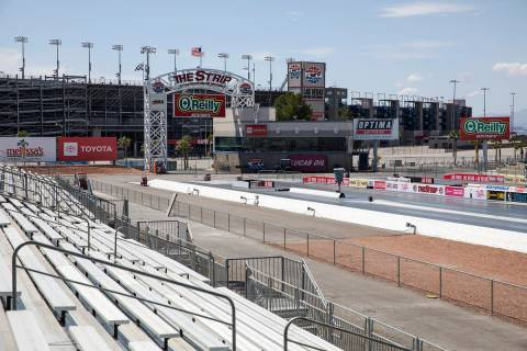 Empty bleachers at The Strip at the Las Vegas Motor Speedway in Las Vegas, Sunday, April 5, 202 ...
