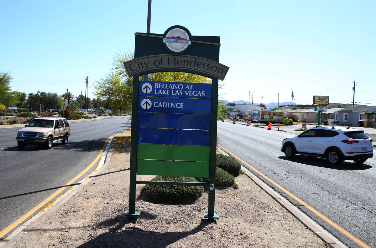 The city of Henderson sign on Lake Mead Parkway photographed on Wednesday, April 25, 2018, in H ...