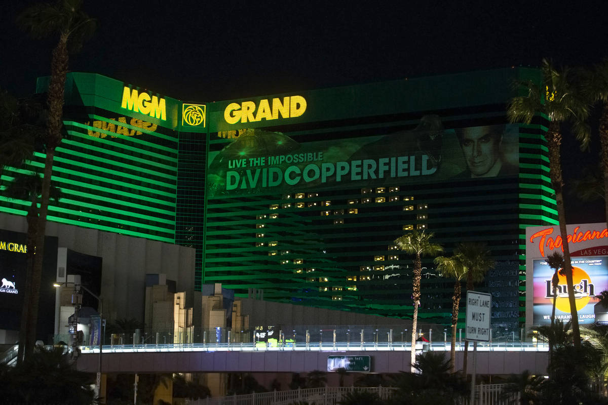 MGM Grand displays signage showing support for Las Vegas during the coronavirus pandemic on Wed ...
