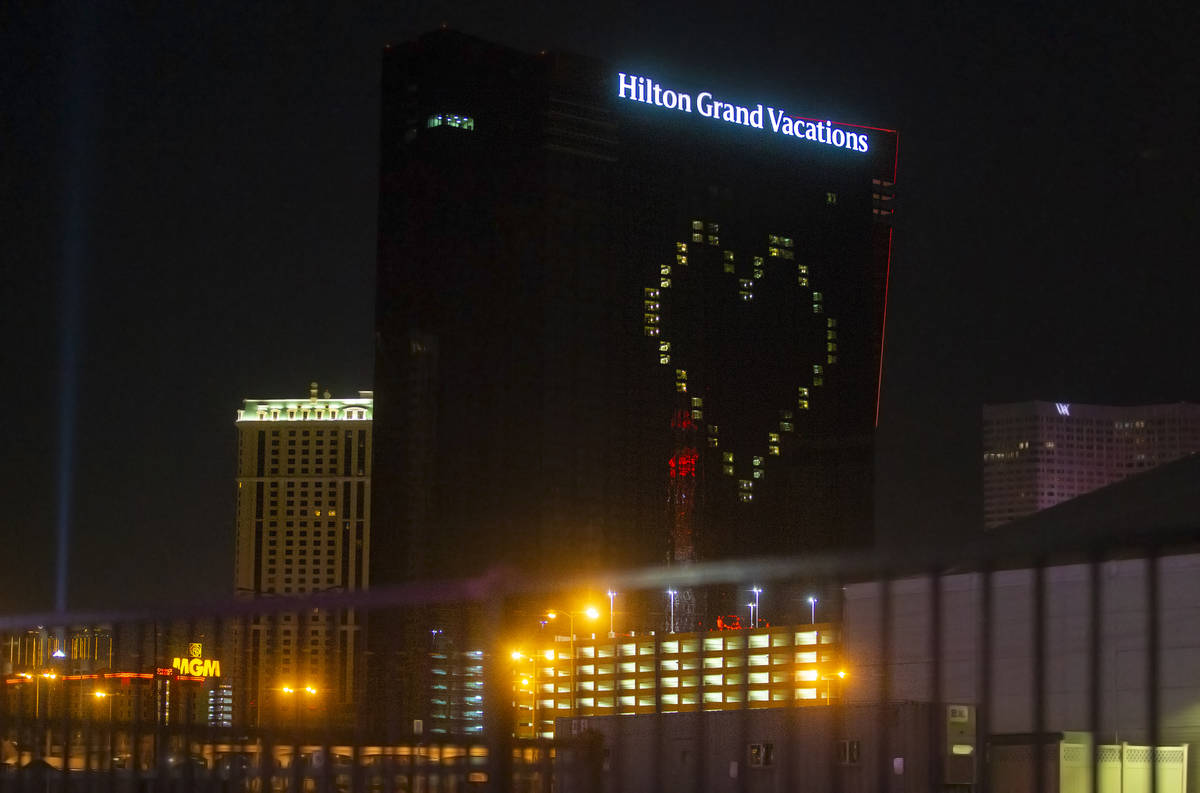 Hilton Grand Vacations displays signage showing support for Las Vegas during the coronavirus pa ...