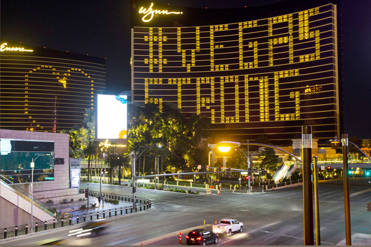 Lights through room windows are displayed at the Wynn Las Vegas along the Las Vegas Strip on We ...