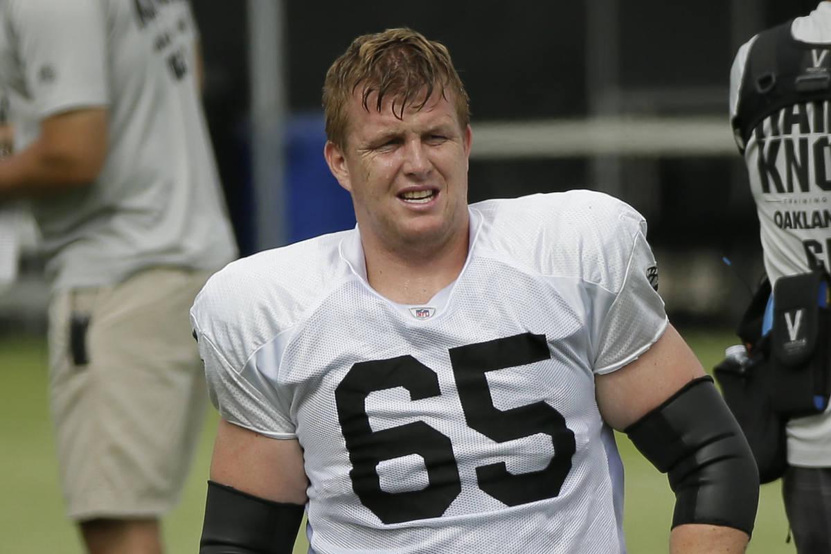 Oakland Raiders lineman Jordan Devey during NFL football training camp Monday, July 29, 2019, i ...