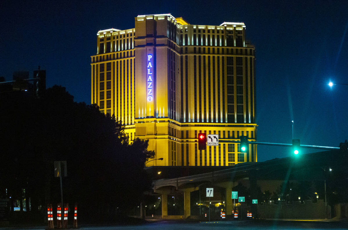 The Palazzo sign is lit blue in memory of Nevada Highway Patrol Sgt. Benjamin Jenkins in Las Ve ...