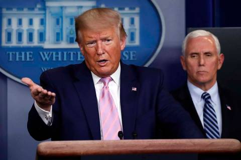 President Donald Trump speaks about the coronavirus in the James Brady Press Briefing Room of t ...