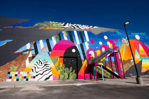 A view of a mural by Eric Vozzola at Area15 in Las Vegas on Thursday, April 2, 2020. (Chase Ste ...